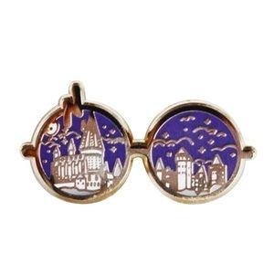 Harry Potter Glasses Hogwarts Silver Enamel Pin